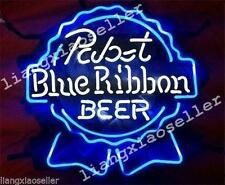 17X14 Pbr Pabst Blue Ribbon Real Glass Neon Sign Beer Bar Pub Light Fast Ship