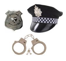Adults Mens ( Police Hat Handcuffs & Badge) 3PC Peak Cap Set Fancy Dress Costume