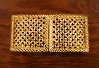 Vintage 80s 90s Paquette Gold Toned Metal Basket Weave Square Latice Belt Buckle