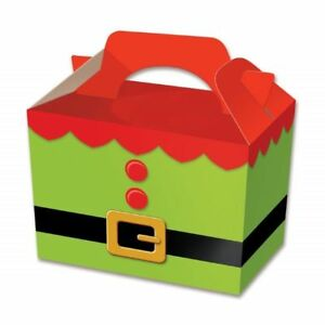 10 x Christmas Elf Tunic Lunch Box Snacks Food Assemble Party Meal Treat Boxes