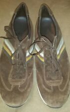 Tods Brown Suede Leather Nubuck Trainers Stripes  Men's Sz 11 Sneakers Trainers