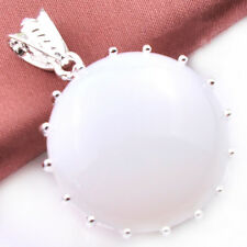 Huge 25MM Round Cut Mystical Rainbow Fire Moonstone Silver Necklace Pendants