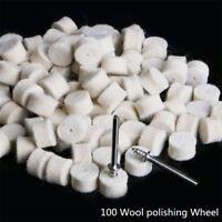 100Pcs 13mm Wool Felt Polishing Wheel Buffing Pad + 2 Shanks Car Polisher Buffer