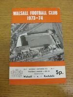 01/09/1973 Walsall v Rochdale  (folded, team changes, score on front). Thanks fo
