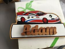 WOODEN RACING CAR DOOR WALL PLAQUE PERSONALISED NAME ADAM