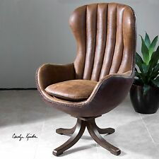 "NEW 47"" MID CENTURY STYLE SWIVEL HIGH BACK ACCENT CLUB CHAIR FAUX LEATHER SUEDE"