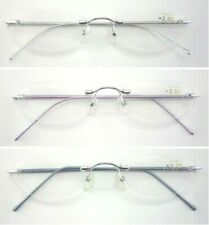 L47 Quality Women's Rimless Graceful Reading Glasses/Spring Hinges Aluminum Arms