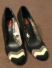 Missoni For Target 7 Black Suede Pumps Zig Zag Round Toe Heels Shoes NWOB