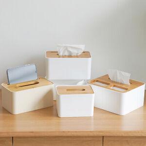 Wooden Paper Tissue Box Cover Holder Napkin Dispenser Storage Case Organizer