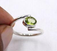 Peridot 925 Sterling Silver Band Ring Handmade Jewelry cq9112