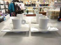 UNIQUE Set 4 White Porcelain Demitasse Espresso Coffee Cups and SQUARE Saucers