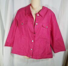Denim & Co Women Size XL Pink Jean Jacket Coat K