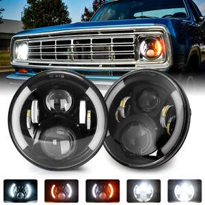 "Pair DOT 7"" inch Round LED Headlights Angel Eye For Dodge D100 D200 D300 Pickup"