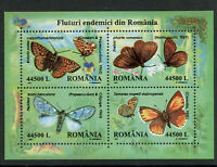 Endemic Butterflies mnh souvenir sheet 2002 Romania #4535