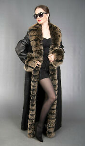 4465 NEW AMAZING LEATHER COAT BLUE FOX FUR EXTRA LONG BEAUTIFUL LOOK SIZE M