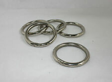 """10 x NICKEL STEEL WELDED O RINGS 2"""" (52mm) THICK/STRONG LEATHER CRAFT"""