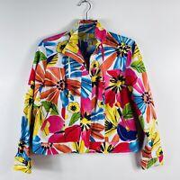 Coldwater Creek Size 6 Petite Bright Fun Floral Jacket Zip Up Cotton Blend