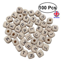 100 x 10mm Cube Wooden Alphabet Beads for DIY, Crafts. Jewellery- UK Stock
