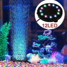 12 LED RGB Color Changing Fish Tank Air Stone Aquarium Submersible Bubble Light