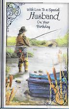 SPECIALE Marito cartolina di compleanno, tema di pesca, Loveley strofa, 10.5 x 7 pollici (B3