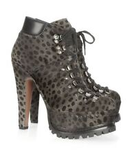 Alaia Runway NWT Calf Hair Leather Leopard Military Platform Boots 38.5 $2700
