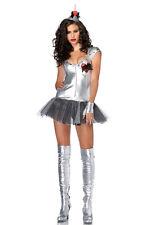 4 Piece Sparkling Metallic Silver Dancer Costume - Dress Hat Gloves Size 8-10