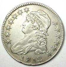 1812 Capped Bust Half Dollar 50C - XF / AU Details - Rare Date Coin!