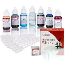 AmScope Vital Stain Kit for Living Cells – Microscope Slide Stains, Pipettes & 7