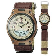 Casio AW-80V-5BV Brown Canvas Strap Digital Analog Sports Watch with Retail Box