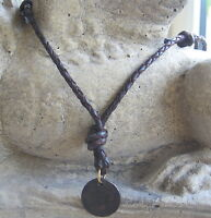 Surferkette Halskette Leder braun geflochten Herrenkette Damenkette neu Amulett