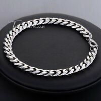"7mm 6-11"" Mens Boys Chain Silver Tone Curb Cuban Link Stainless Steel Bracelet"