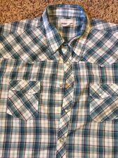 Wrangler Western Shirt Size 3X Men's Blue Plaid Snap Buttons Extra Large Plus