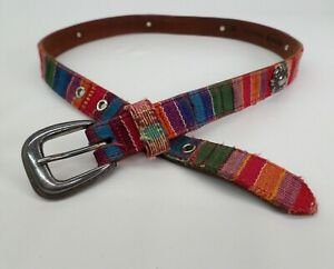 Fossil Leather Concho Belt Medium 30 Ethnic Tapestry Cloth BT83019970
