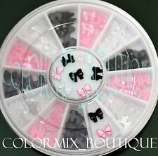 5mm 3color 3D Nail Art Decoration Black White Pink Mini Pearl Ribbon Bow #R26