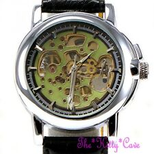 Unusual Steampunk Skeleton Automatic Mechanical Green & Silver Blk Leather Watch