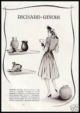 PUBBLICITA' 1940 RICHARD GINORI MODA PORCELLANE TERRAGLIE CERAMICHE NEGOZI