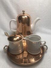 Baker Hart & Stuart Porcelain/Copper TEA SERVING Set Teapot/Sugar/Creamer/Tray