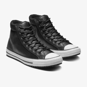 NEW Size 10 Black Leather Converse Hi Top Mens Black Chuck Taylor Boot 162415C