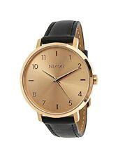 Nixon Arrow Rose Gold Black Leather Watch / A1091 1098 / A10911098 / A1091-1098
