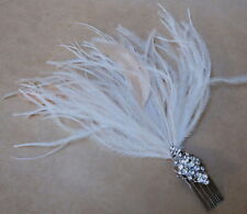 Cream Pink Feather & Diamante Hair Comb Fascinator by Elysian Creations