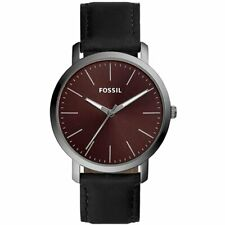 Fossil Men's Luther BQ2476 44mm Red Dial Leather Watch