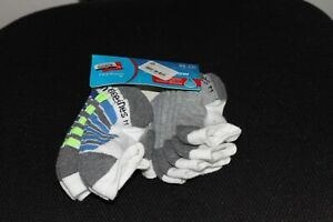 Hanes Boys Socks No Show White W/Grey Medium M (9-2.5)