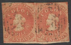 CHIlE-COLON-PAIR-USED STAMPS