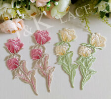 Two Pieces Pretty Pink / Light Yellow Flower Sewing Applique