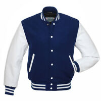 Navy Blue Wool Varsity Letterman Bomber Baseball Jacket White Leather Sleeves