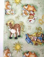 Vintage DOLLY Baby Blanket Farm Cows Donkeys Horseshoes Cowboys Bears Cotton