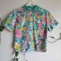 Vtg 80s-90s Abstract Print Boxy Shirt Blouse S-M-L Cotton Pastel Bright Pocket