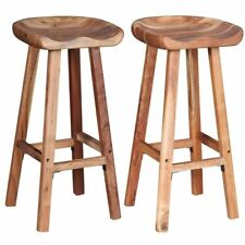 2 Wooden Bar Stools Solid Wood Handmade Chairs Stool Breakfast Pub Hotel Cafe