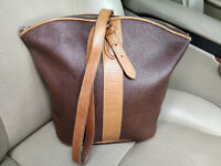 ELLE Paris Vintage Bag Shoulder Shopper Tote Scotchgrain Leather Brown Pouch