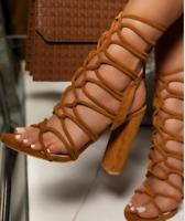 Ladies Block High Heels Open Toe Roman Gladiator Women Strappy Sandal Shoe HOT